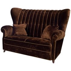 Italian Art Moderne wing back loveseat with brown velvet upholstery and ribbon twist cord resting on short beechwood legs (style of GIORGIO RAMPONI) (ref: fig. Living Furniture, Sofa Furniture, Vintage Furniture, Modern Furniture, Nice Furniture, Italian Furniture, Painted Furniture, Couches For Sale, Chairs For Sale