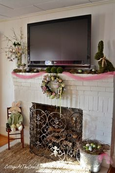 Easter Decorating Mantel Ideas make an easter egg garland with eclectically vintage | fireplace