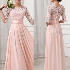 Women Fashion Cocktail Party Evening Maxi Dress Chiffon Summer Beach Lace Gown #nobrand #StretchBodycon #Cocktail