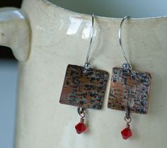 Textured copper squares with red crystal by DragonflyDreamers, $22.00