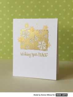 Hero Arts Cardmaking Idea: Wishing You Peace. simple, elegant, one layer card when you must make a lot of them!