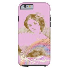 Vintage Fan Lady Pink iPhone 6 ToughCase by #MoonDreamsMusic #iPhone6Case #ToughCase #VintageLady #PinkCase #VictorianLady