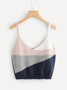 Shop Color Block Knit Cami Top online. SheIn offers Color Block Knit Cami Top & more to fit your fashionable needs.