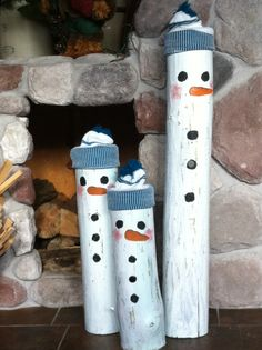I found some logs on the side of the road.... snowmen logs