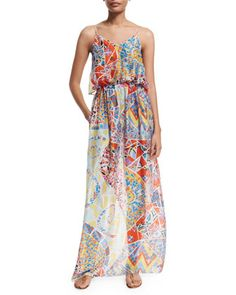 Light+Mosaico+Maxi+Dress+W/Pockets,+Celeste/Arancio+by+Emilio+Pucci+at+Bergdorf+Goodman.