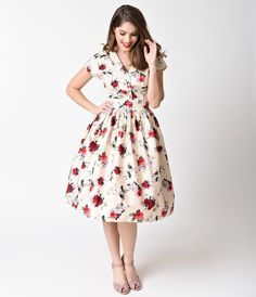 Retro Style Dresses 1950s Style Cream  Red Florals Rosemary Swing Dress $84.00 AT vintagedancer.com