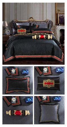 This Black Luxury Bedding Set with Gold Design is speically made with Satin Silk fabric to create a more beautiful Bedroom Decor in your Master Bedroom. You can improve your overall bedroom decor with minimum effort and create a more comfortable sleeping environment for you. This Luxury Bedding Set with 10 Pieces will make sure your bed is nicely decorated with beautiful designer pillows. #luxury #bedroom #bedding #duvet #home #decor #luxurybedding #luxuryhome #blackbedding #gold #bed