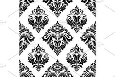 Oriental vector pattern with damask, arabesque and floral elements. Damask Patterns, Arabesque, Vector Pattern, Abstract Backgrounds, Oriental, Floral, Cards, Design, Flowers