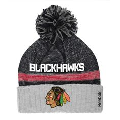 Mens Chicago Blackhawks Reebok Black Cuffed Knit Hat with Pom