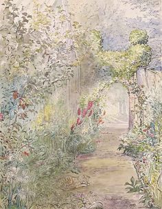 Beatrix Potter - Fawe Park Garden, 1903, Watercolor