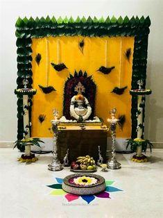 Satyanarayan Pooja Decoration Ideas At Home Backdrop Decorations, Diwali Decorations, Festival Decorations, Flower Decorations, Ganpati Decoration At Home, Indian Decoration, Ganesh Chaturthi Decoration, Janmashtami Decoration, Housewarming Decorations