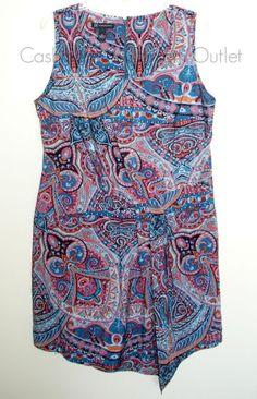 INC International Concepts NEW Drop Waist Sleeveless Dress Teal Paisley Size 16