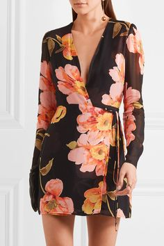 REFORMATION Floral-print georgette wrap mini dress. / long-sleeve, mini dresses for spring and summer