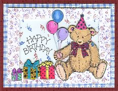 Birthday Bear by Rox71. Stamps: Button Bear & Itty Bitty Backgrounds by Stampin' Up! Middle Gift-Stamp City