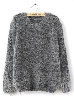 Grey Plain Round Neck Loose Cotton Blend Sweater