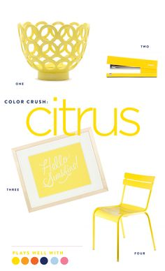 How to decorate with yellow.  Color Crush: Citrus www.pencilshavingsstudio.com