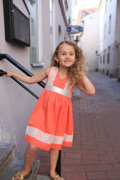 FREE SHIPPINg use coupon code FREESHIP /Girls orange dress D22 spring summer birthday baby infant flower lace special occasion