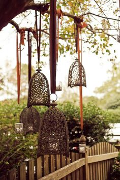 Candle-lit lanterns, hanging from a tree
