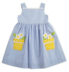 Darling Details ❤ ~ Florence Eiseman Girls Blue Seersucker Sun Dress with Yellow Daisy Pockets Little Dresses, Little Girl Dresses, Girls Dresses, Party Dresses, Toddler Dress, Toddler Outfits, Kids Outfits, Baby Dress Patterns, Baby Kind