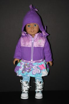 Fleece Two Toned Winter Jacket and Hat Purple for American Girl Doll $19.50