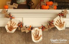 Giggles Galores' Handprint Turkey Banner smells as festive as it looks. The secret ingredient? A dusting of cinnamon-sugar on each little turkey. Source: Giggles Galore