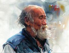 Watercolor Portrait by 미술부화실 - Ad HP - Watercolor Artists, Watercolor Portraits, Watercolour Painting, Painting & Drawing, Watercolors, Guache, Anatomy Art, Human Art, Portrait Art