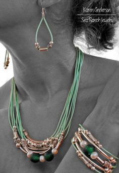 """Choice Of Pearl Red, Black, Brown or Mint Sea Green. Made To Order Leather & Silver Jewelry Set. """"Tribal Sea"""" Earrings, Bracelet, Necklace"""