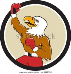 Illustration of a bald eagle boxer pumping fist in the air looking up viewed from the side set inside circle done in cartoon  style. #boxing #cartoon #illustration