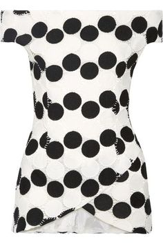 Paper London - Winona Off-the-shoulder Guipure Lace Top - Black - UK10