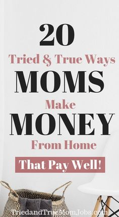 stay at home mom 20 Ways Moms Actually Make Money from Home that are flexible enough to raise their kids. Everything on this list are jobs moms do today so you can rest assure it works. I do 1 amp; 2 on this list to make money. Money Saving Mom, Best Money Saving Tips, Money Tips, Work From Home Tips, Stay At Home Mom, Online Earning, Earn Money Online, Online Jobs, Earning Money