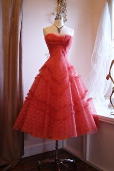 1950's Coral Prom Dress