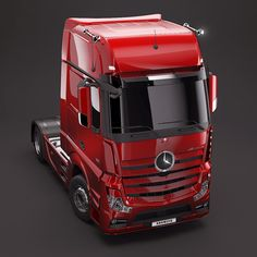 Red version of Mercedes-Benz Actros model, done in 3Ds max, Vray.