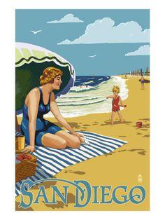 San Diego, California - Beach Scene