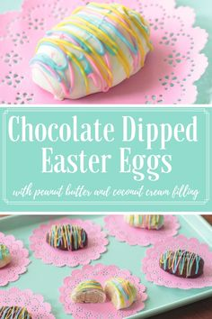 Learn how to make these delicious coconut cream and peanut butter Easter eggs. They're even better than the name-brand, store-bought chocol. Chocolate Covered Peanuts, Chocolate Drip, Melting Chocolate Chips, Chocolate Lovers, White Chocolate, Cake Chocolate, Coconut Peanut Butter, Peanut Butter Filling, Coconut Cream