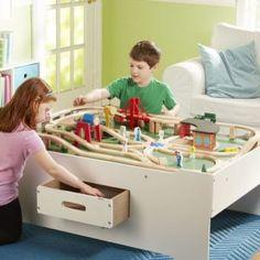 Multi Activity Table Playroom Furniture, Playroom Table, Playroom Design, Playroom Ideas, Basement Ideas, Block Play, Play Table, Wooden Train, Melissa & Doug
