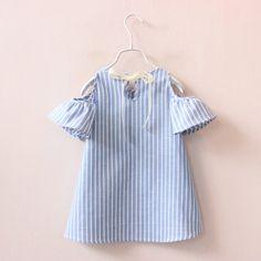 Estilo Casual Vestido Da Menina Roupas de Verão 2017 Meninas Da Forma Do Bebê Vestidos de Algodão Listrado Crianças Roupa Da Menina Vestidos Robe Fille