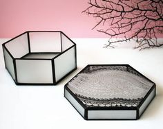 Hand Painted Box Stained Glass Jewelry Organizer Lace Pattern Hexagonal Jewelry Storage Silver Black For Her Pretty Display Desk Organizer