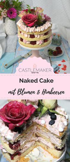 Dieser hübsche naked cake mit Himbeeren und einer leichten Schmandcreme ist mit echten Blumen verziert und perfekt für die Vintageparty. Das Rezept gibt es auf meinem Blog. #nakedcake #vintagestyle #torte