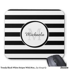 Add a modern flair to your office style with this trendy black and white wide horizontal stripes mousepad with a circle monogrammed frame. Personalize this fashionable stripe pattern by adding your name and monogram to. #sold #zazzle