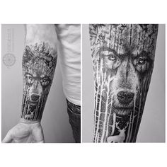blackwork wolf forest tattoo halfsleeve