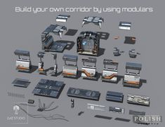 Sci-fi Corridor Modular Kit | 3D Models and 3D Software by Daz 3D Spaceship Interior, Spaceship Art, Environment Concept Art, Environment Design, Substance Designer Tutorial, Procedural Generation, Game Level Design, Kit Games, Sci Fi Games