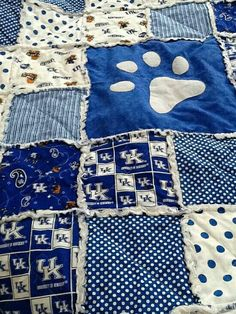 Love this Kentucky Wildcats Rag Quilt by KYLadyDesigns on Etsy/its no longer available. Uk Wildcats Basketball, Kentucky Basketball, Uk Football, University Of Kentucky, Kentucky Wildcats, Kentucky Sports, Kentucky Girls, Go Big Blue, Blue And White