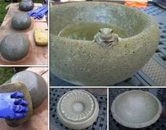 hypertufa concrete bowls and planters Diy Garden, Garden Crafts, Garden Projects, Garden Ideas, Concrete Bowl, Concrete Planters, Diy Concrete, Concrete Garden, Diy Planters