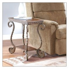 Metal End Table Wood Accent Chair Side Decor Shelf Storage Scrolled Lamp Photos for sale online End Tables, Recliner, Lounge, Table Designs, Chair, Classic, Dark Brown, Blue, Painting