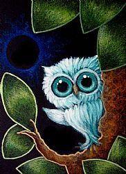 Art: TINY AQUA OWL - ECLIPSE 2 by Artist Cyra R. Cancel