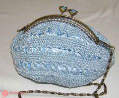 bolso de  fiesta ganchillo blue bag
