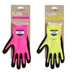 With the New FloraBrite gardening gloves you'll never have to worry about losing your gloves in the garden again. These FloraBrite fluorescent garden gloves available in brightly coloured yellow or pink options will show up in any foliage with their high visibility and reflective logo that glows under torchlight.