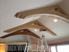 Great way to add character to any living space with faux trusses or beams...