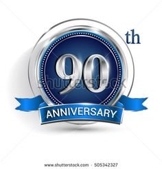 Celebrating 90th anniversary logo, with silver ring and blue ribbon isolated on white background.