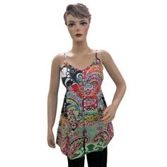 ef8f3e67fa6b72 Bohemian Tank top Blouse Multi Color Printed Coverup Tank for Women s  16.99